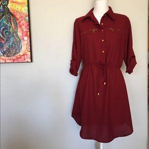 Lightweight Burgundy Shirt Dress